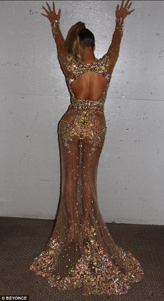 Did she do it better? Beyonce also wore a sheer dress this evening to the ball, perhaps outshining Kim