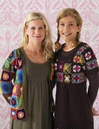 short sweater on the right. #grannysquare #crochet