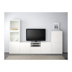 BESTÅ TV-Komb. mit Vitrinentüren - weiß/Selsviken Hochglanz/Klarglas weiß, Schubladenschiene, Drucksystem - IKEA