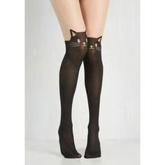 Quirky Wherefore Art Thou, Ro-meow? Tights ($15) ❤ liked on Polyvore featuring intimates, hosiery, tights, opaque tights, sheer black stockings, black cat tights, black stockings and thigh high opaque tights