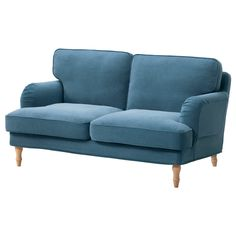 IKEA - STOCKSUND, Loveseat cover, Ljungen blue, , The cover is easy to keep clean as it is removable.Tailored cover in durable polyester with a soft, velvety feel and fine details such as piping and pleats.