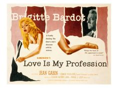 Love Is My Profession, Brigitte Bardot, Jean Gabin, 1958