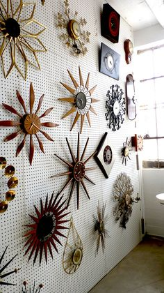 Wall of MCM Clocks. I would love to do a wall of clocks but it would drive me crazy trying to get all the minutes exactly matching the other!