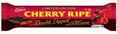 Cadbury Cherry Ripe Double Dipped: 60% Cocoa 50g. Bar   Introducing new Cherry Ripe Double Dipped with 60% Cocoa - A delicious limited edition chocolate bar with ripe juicy cherries and coconut all dipped in Old Gold Rich Dark Chocolate with 60% Cocoa. Cherry Ripe Double Dipped with 60% cocoa delivers a heightened Dark Chocolate experience with a deliciously rich and indulgent taste. The perfect treat for Dark Chocolate lovers!