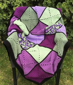 Purple and Green Basic Granny Square Patchwork by DapperCatDesigns
