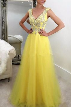 Yellow Tulle Sequins Beading V-neck Graduation Dress Prom Dress 2020 Sexy V-Neck Prom Party Gowns ,Formal Evening Gowns Evening Dresses Uk, A Line Evening Dress, Cheap Prom Dresses, Bridesmaid Dresses, Party Dresses, Dresses Dresses, Formal Dresses, Elegant Maxi Dress, Maxi Dress Wedding