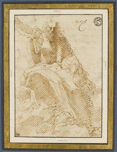 Inventaire du département des Arts graphiques - Dieu le Père assis sur des nuages, tenant le globe terrestre - BECCAFUMI Domenico