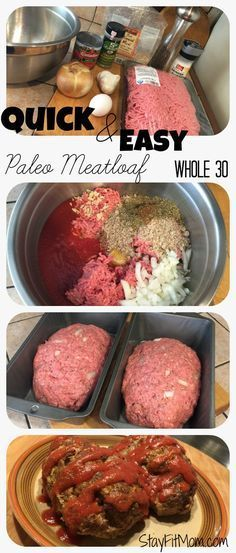 Paleo Meatloaf For the Meatloaf: 3 lbs ground beef 1 egg 1 med onion 2 cloves ga. - Paleo Meatloaf For the Meatloaf: 3 lbs ground beef 1 egg 1 med onion 2 cloves garlic 1 can toma - Low Carb Paleo, Clean Eating Recipes, Cooking Recipes, Easy Cooking, Eating Paleo, Clean Foods, Flour Recipes, Eating Clean, Pasta Recipes
