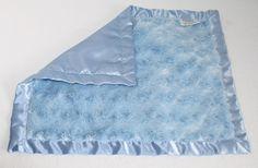 """Swankie Blankie Security Blanket Blue plush Minky swirl Satin trim edge 13x15.5"""" #SwankieBlankie"""