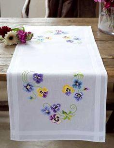 """Κ """"Pretty Pansies Table Runner - 40 x"""", """"Selling Runner Colorful Spring Flowers From Vervaco - Price: € - Casa Cenina"""", """"All Cross Stitch Kits"""", """" Cross Stitch Borders, Crochet Borders, Cross Stitch Flowers, Cross Stitching, Cross Stitch Patterns, Types Of Embroidery, Ribbon Embroidery, Embroidery Patterns, Hardanger Embroidery"""