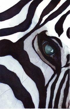 Zebra Art Print of my watercolor painting Zebra by rachelsstudio - Zebra Thought