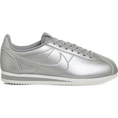 Nike Classic Cortez OG metallic-leather trainers featuring polyvore women's fashion shoes sneakers nike shoes sport sneakers leather shoes leather trainers leather sneakers