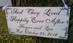 Wedding Sign with PEARLS Happily Ever After Sign SHABBY CHIC with Bride & Grooms Names Vintage Sign