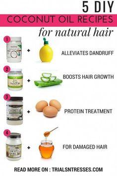 5 DIY Coconut Oil Recipes For Natural Hair - Trials N Tresse.- 5 DIY Coconut Oil recipes for All your Natural hair Needs -