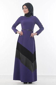 Kayra Deri Detaylı Abiye Elbise