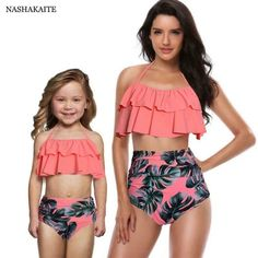 Mother and Daughter Swimsuit Mommy Swimwear Bikini sets Brachwear Clothes Look Mom Baby Dresses Clothing Family Matching Outfits Peplum Swimsuit, Swimsuit Cover Ups, Flounce Bikini, Tankini, Cute Swimsuits, Women Swimsuits, Swimwear Fashion, Bikini Swimwear, Bikini Fashion