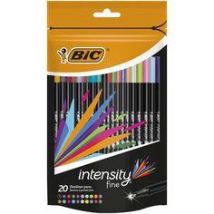 BIC 12 Intensity Fineliner Pen - Assorted Pack of 20 Bic Pens, Pens And Pencils, Stationary School, Office Stationery, Homemade Journal, Fineliner Pens, Marker Pen, Pen Sets, Preschool Crafts