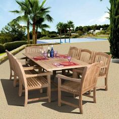 amazonia newcastle 9piece teak patio dining set