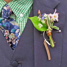 Floral tie and buttonhole