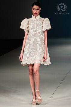 re-imagined barong by gerry katigbak Modern Filipiniana Gown, Filipiniana Wedding, Wedding Dress, Barong Tagalog For Women, Modern Fashion, Asian Fashion, Grad Dresses, Short Dresses, Filipino Fashion