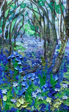 Woodland blues is a response by me of the profusion of bluebells that were at Lea and Pagents wood in Herefordshire this Spring. I felt like I had entered a magical story book the colour and smells…