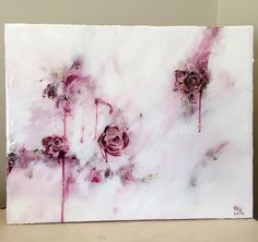 20 x 16 Acrylic Abstract Rose Painting  Coated by SarahKKreations