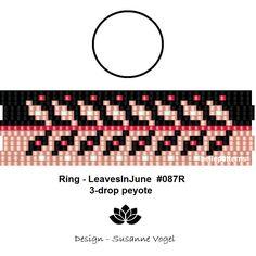 peyote ring pattern,PDF-Download, #087R-3d, 2 variants, 3 drop peyote, beading pattern, beading tutorials, ring pattern design,pdf-file von bellepatterns auf Etsy