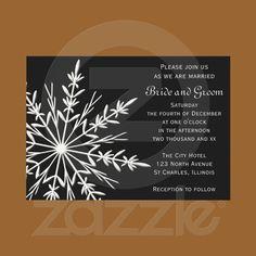 Black and White Snowflake Winter Wedding Invite from Zazzle.com