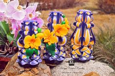 Carved candles  purple candle   yellow от CarvedCandleandToy