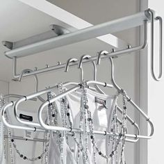 Trouser rack - GTV Pull out folding clothes rack hanger wardrobe fitting Wardrobe Rail, Wardrobe Storage, Bedroom Wardrobe, Bedroom Storage, Clothing Storage, Wardrobe Closet, Hanging Clothes Rail, Hanging Rail, Clothes Hangers