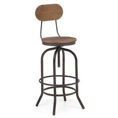 Zuo Modern Twin Peaks Distressed Natural 34.3-In Adjustable Stool 9818