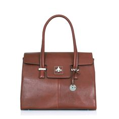 Knomo Berkeley Helena Leather Laptop Handbag, Cognac