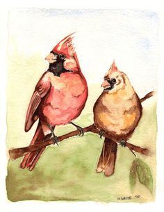 Cardinals I painted for my mom's birthday Cardinal Tattoos, Red Bird Tattoos, Mom Tattoos, I Tattoo, Tatoos, Cardinal Birds, Bird Feathers, Cardinals, Outdoor Ideas