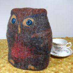 Felted Owl Teacosy  brown and red  teapot cosy by feltersjourney, £30.00