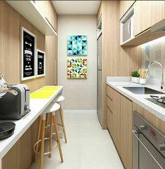 Cheerful and cozy kitchen in the hallway ! Condo Interior Design, Kitchen Interior, Beautiful Kitchens, Kitchen Design Small, Kitchen Remodel, Kitchen Decor, Kitchen Remodel Small, Home Kitchens, Kitchen Design