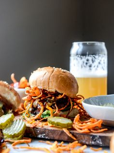 BBQ havarti burgers with sweet potato curly fries by @howsweeteats I howsweeteats.com