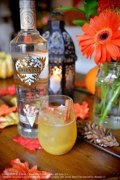 Smirnoff Cinna-Sugar Twist Pineapple Juice with 1.5 oz Smirnoff Cinna-Sugar Twist Flavored Vodka, 3.5 oz Pineapple Juice and a Cinnamon.