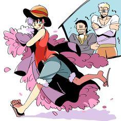 One Piece, Luffy, Doflamingo, Crocodile