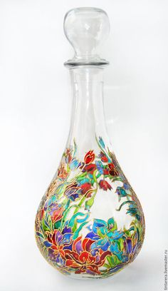 Buy glass carafe - Diy How to Crafts Painting Glass Jars, Glass Painting Designs, Bottle Painting, Glass Art, Glass Bottle Crafts, Bottle Art, Glass Bottles, Stained Glass Paint, Stained Glass Patterns