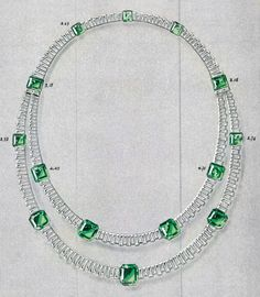 Photo: Drawing of a necklace sold to the Prince of Wales in 1935 for Mrs. Simpson.    Contrary to legend, not a single emerald from the royal collection was used in its construction.  All stones were furnished by Van Cleef & Arpels.