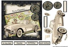 Male Card Classic car on Craftsuprint - Add To Basket!