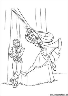 Dibujo de Encantada colgado de la cortina | Dibujos para Colorear