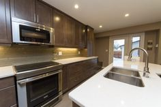 Vital kitchen had a U-shaped design that cut off half the room. After our home renovation, the kitchen doubled in size and usable space Kitchen Renovations, Home Renovation, Kitchen Design, Kitchen Cabinets, Construction, Room, Home Decor, Building, Bedroom
