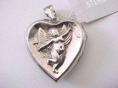 Sterling Cherub Locket Heart Pendant Italy by victoriajamesdesigns