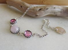 Pink Sapphire and Pink Quartz Bracelet by wearitpersonalized