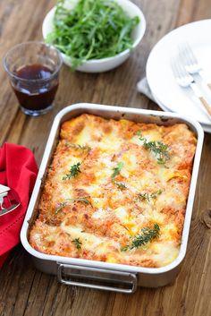 Lasagnes à la napolitaine (deux recettes : traditionnelle et simplifiée) Easy Cooking, Lasagna, Italian Recipes, Quiche, Bacon, Healthy Recipes, Healthy Food, Food And Drink, Breakfast