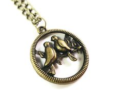 Bronze Bird Necklace Lovebird Vintage by BusyBeeBeadedJewelry, $8.95