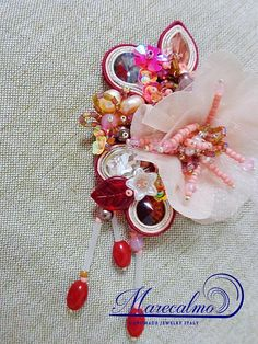 Marsala brooch Bead Embroidered brooch soutache brooch boho
