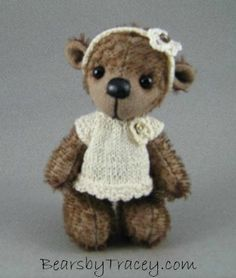 """One of our favourites """"Alice"""" a cute wee mohair bear with hand knitted dress with headband.  www.facebook.com/bearsbytracey"""