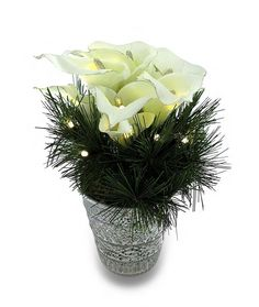 Winter Faux Calla Lily Arrangement In Silvered Glass Vase w/LED Lights * You can find out more details at the link of the image.